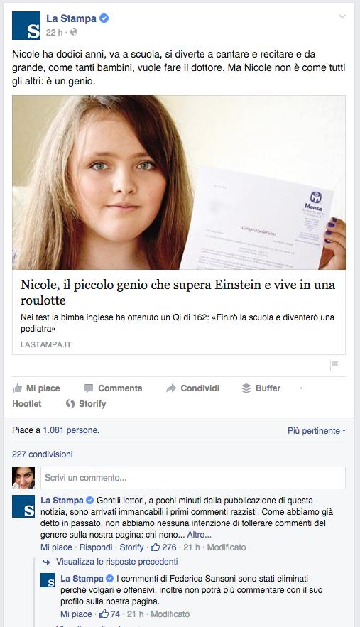 1  La Stampa   Nicole ha dodici anni  va a scuola  si diverte a...